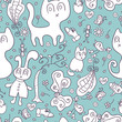Seamless pattern with cute childlike doodles