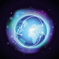 Vector internet concept - glowing globe