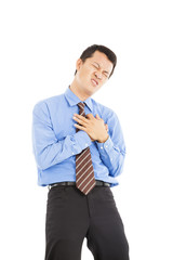 young businessman with heart attack