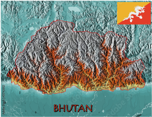 Bhutan Asia national emblem map symbol motto