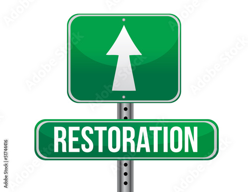 restoration road sign illustration design