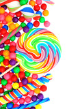 Colorful candy corner border with lollipops and gumballs