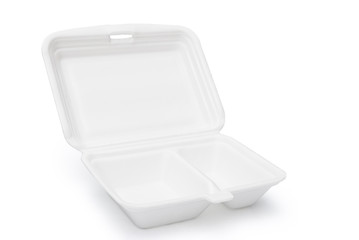 Styrofoam box on white with clipping path, open