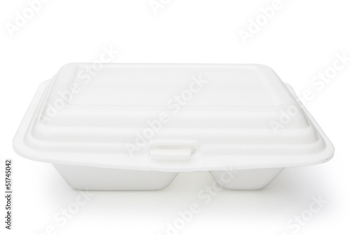 Styrofoam box on white with clipping path, close