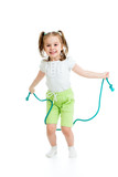 kid girl jumping through rope isolated