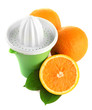 Citrus press and ripe oranges, isolated on white