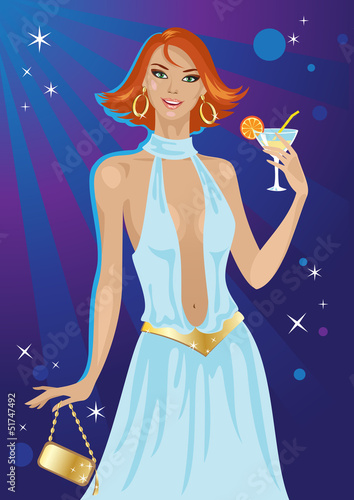 Fashion disco girl with cocktail