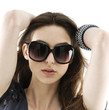 brunette portrait with sunglasses