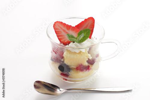 Strawberry, raspberry, and blueberry trifle