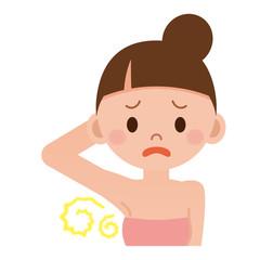 汗の臭いを気にする女性