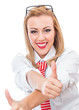 Young happy formal woman gesturing thumb up