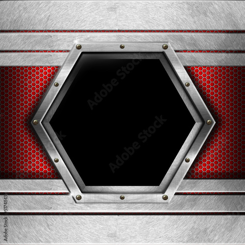 Red and Metal Background with Hexagon