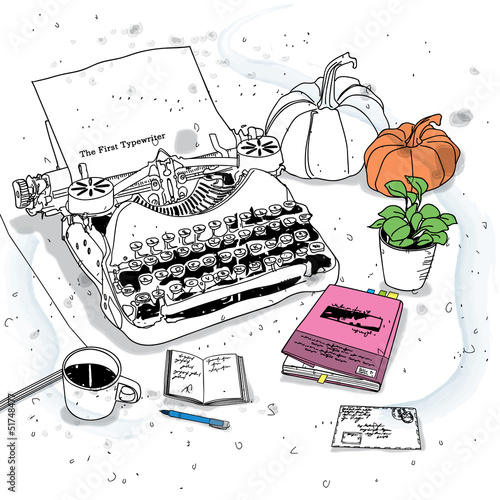still life with a vintage typewriter