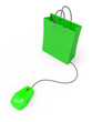 Green online shopping bag and mouse