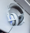 White headphones that was photographen on macro mode