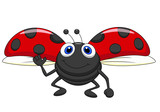 Cute ladybug cartoon flying