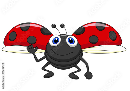Foto op Canvas Lieveheersbeestjes Cute ladybug cartoon flying