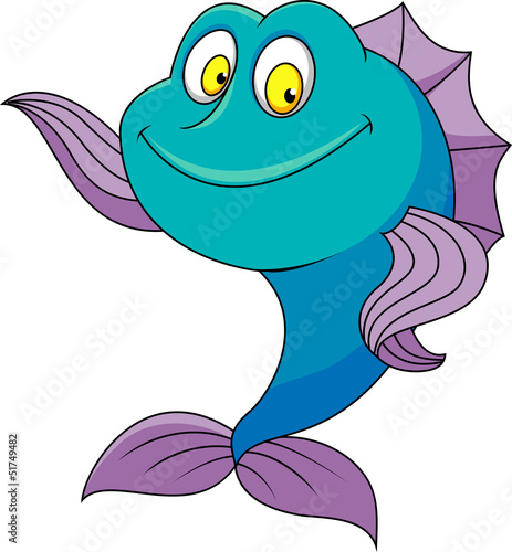 Cute fish cartoon wavong
