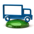 Blue truck icon on green ground