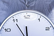 Wall clock ober blue shirt