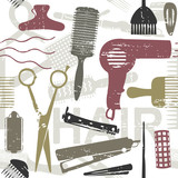 Scratched retro hair styling related seamless pattern 2