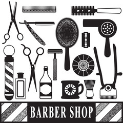 Vintage barber and hairdresser related silhouette set