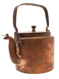 antique copper kettle isolated on white