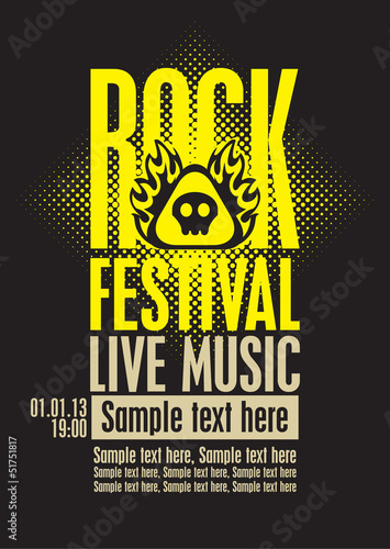 poster for a rock festival with skull on fire