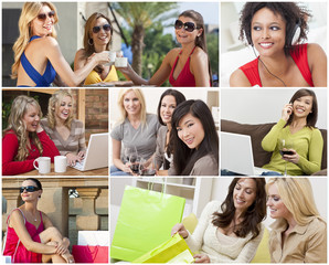 Montage of Modern Women Leisure Lifestyle