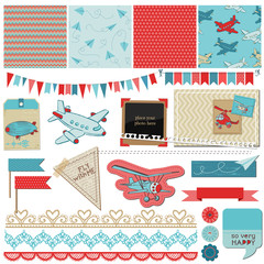 Scrapbook Design Elements - Baby Boy Plane Elements - in vector