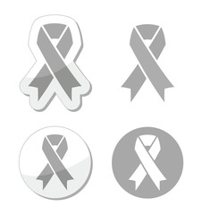 Silver ribbon - children with disabilities, Parkinson's  sign