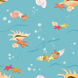 Marine background with seashells and starfish