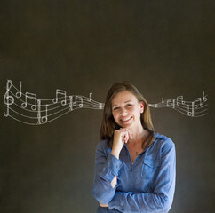 Learn music business woman or teacher with chalk background