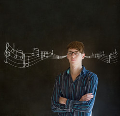 Learn music business man or teacher with chalk background