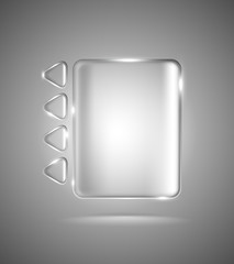Transparent glass rectangle and triangles