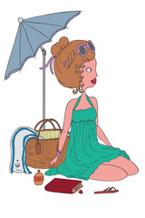 illustration of a fashion girl on the beach