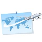 Avión saliendo de un mapa del mundo