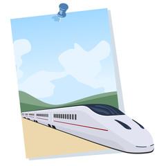 Tren de pasajeros saliendo de un cartel