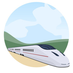 Tren de pasajeros atravesando el paisaje