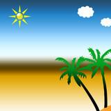 Vacances sur l'île sous les palmiers