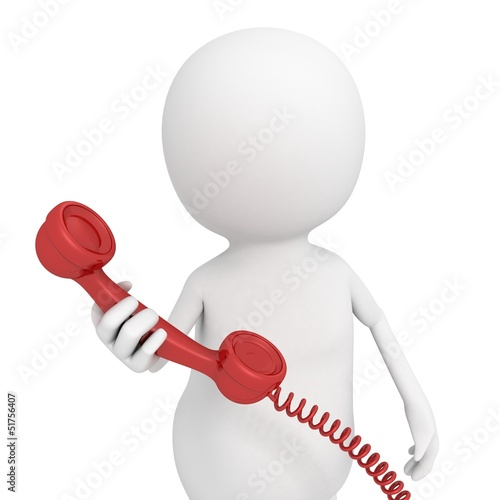 white 3d man with red contact phone handset
