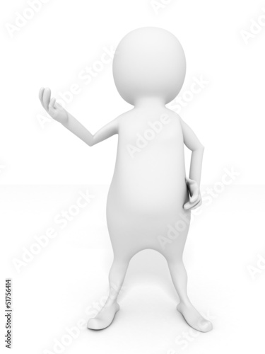 talking white 3d man speaker with opened hand