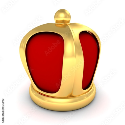 3d golden geraldic crown on white background