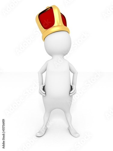 white 3d man king with golden geraldic crown