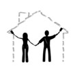 The couple draws a House, silhouette, illustration