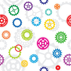 seamless pattern, tiles: color gears