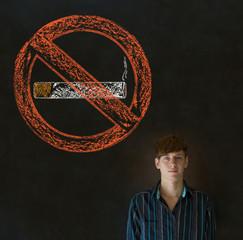 No smoking tobacco man on blackboard background
