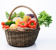 Basket of fresh seasonal produce from the farmmers market