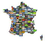 Mosaique de photos dans une carte de France poster