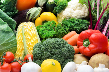 Close up of fresh organic vegetables